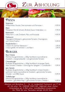 Pizza- und Burgerkarte